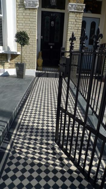 Stone Garden Wall >> Metal gates and Rails - London Victorian Mosaic Tile Quality Mosaic Tile Path in London and SE ...